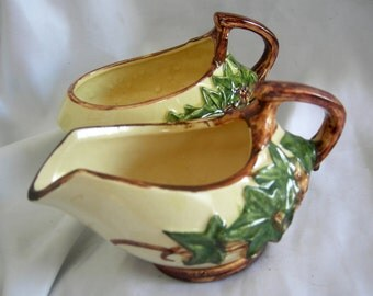 McCOY Ivy Pattern Creamer and Sugar Bowl Set | Vintage Circa 1940s