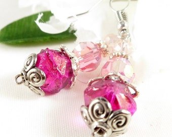 Pink Dangle Swarovski Crystal Beaded Earrings with Silver Accents ~ 2016 Trending Womens Jewelry For Her