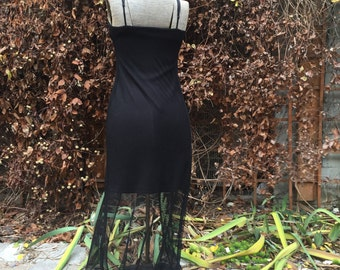 90s Stretch Black Body Con Spaghetti Strap Mini Dress with Mesh Cape