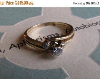 CUPID CHAOS SALE Golden Ellipse: Diamond Vintage Engagement Ring, Handcrafted Yellow Gold 14K size 6