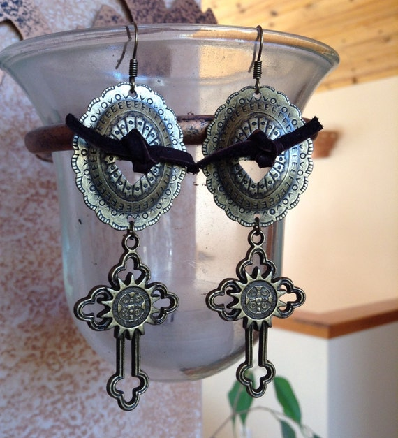 western bronze concho and cross earrings by wbranddesigns