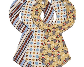 Sock Monkey Baby Necktie Bibs (Set of 3)
