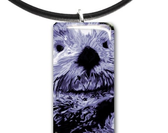 light purple, Sea Otter pendant, hand painted unique artwork, Adorable Otter, Glass tile penant, purple