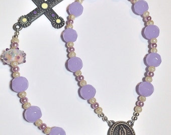 Handmade Lampwork Single Decade Rosary Chaplet - Purple Lampwork Beads, Tiny Assorted Pearls, Dotted Handmade Lampwork Beads, Pewter Accents