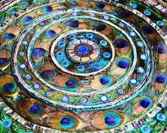 Peacock feather swirl, inlay table, mosaic art