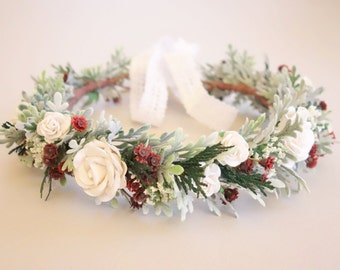 "Winter Wedding Crown, Floral Crown, Winter Flower Crown, Woodland Headdress, Christmas Flower Crown, Bridal Flower Crown, ""DECEMBER"""