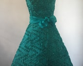 Strapless Dress Emerald Green Vintage Style Fit Flare 1950 Wedding Graduation Small
