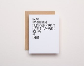 Politically Correct Holiday Card - Letterpress Holiday Card
