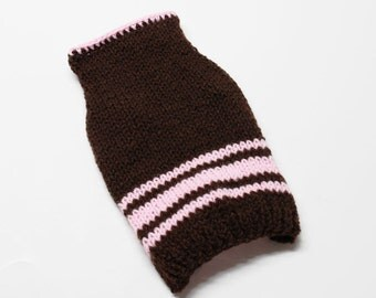 Brown and Pink Hand Knit Dog Sweater