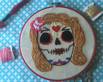 Day of the dead embroidered hoop