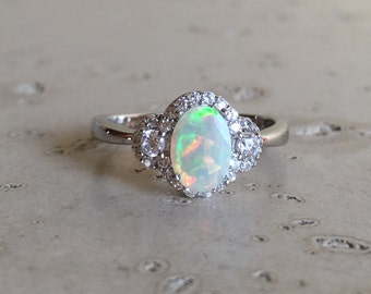 Deco Opal Engagement Ring- Opal Halo Promise Ring- October Birthstone Ring- Alternative Engagement Ring- Nontraditional Engagement Ring