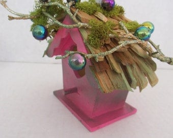 Enchanting ..Hot Pink  Fairy House and Bird House...Great Gift Idea.......OOAK
