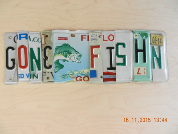 Items similar to gone fishn or gone fishing license plate for Fishing license illinois