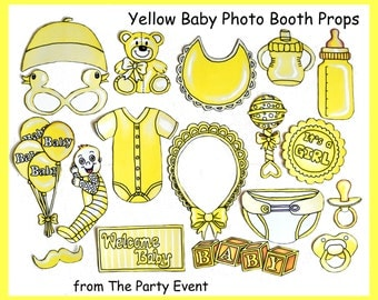 Baby Girl or Boy photo booth props in yellow - perfect for a baby shower or a welcome party for your bundle of joy - yeah, it's a girl/boy
