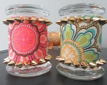 Colorful fabric and spike stash jar/spice storage/decorative jar