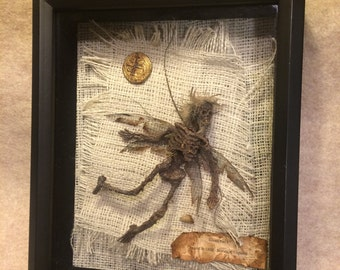 ooak realistic pixkie dead Tooth Fairy dragonfly wings Fantasy miniature doll art goth dollhouse sideshow gaff Hoax joke