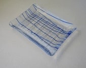 Fused glass soap dish - clear glass with blue and white stripes