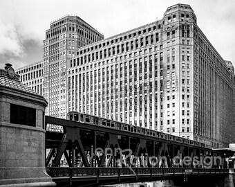Chicago Photography, Chicago Architecture, Merchandise Mart, Chicago River Downtown Bridge, L Train, Art Deco, Black & White Photo Print