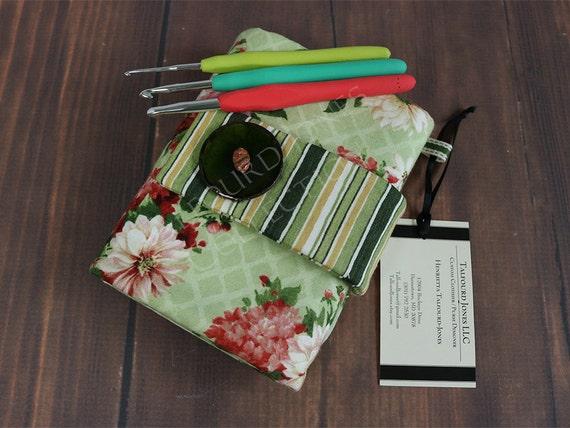 Knitting Organizer Michaels : Green floral crochet hook case organizer roll
