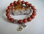Spiritual Healing Chakra Mala Red Jasper Bracelet Wellness Oneness Cosmic Love Unisex Buddha Karen Hilltribe Silver Peace Om Eco Beads
