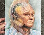 Neelix ORIGINAL Watercolor Portrait, Star Trek: Voyager 9x12