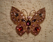 Rhinestone and Cabouchon Gold Filigree Brooch
