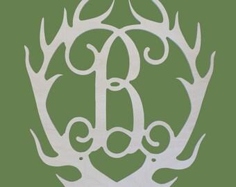 Monogrammed Antler, Wooden Monogram, Wood Antler Monogram, Antler Letter, Wooden Antler, Door Monogram