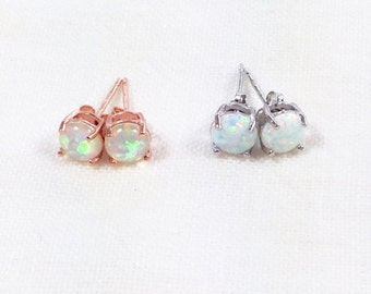 20% OFF Back2SchoolSale Opal Stud Earrings in Silver or Rose Gold Handmade Jewelry NorthCoastCottage