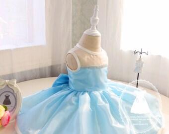 Baby Blue Newborn Thanksgiving Dress, Toddler Christmas Dress, Birthday Dress 1 Year Old, Birthday Dress Baby,PD014-2