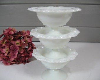 Milk Glass Small Bowls, Compotes, Open Lace, Old Colony Candy Dishes, Wedding Decor, Cottage Chic, Farmhouse