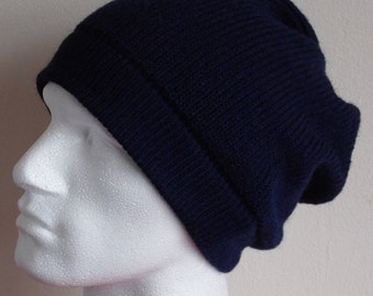 Knit slouchy hat for men, men's beanie, men's hat, navy blue hat for men, beanie for men, slouch hat for men, choose your colour