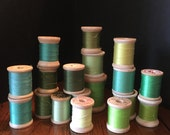 Vintage Wooden Spools of Sew Thread in shades of Green. 17 wooden spools of thread, Lot of 17 Spools of Sewing Thread in Greens