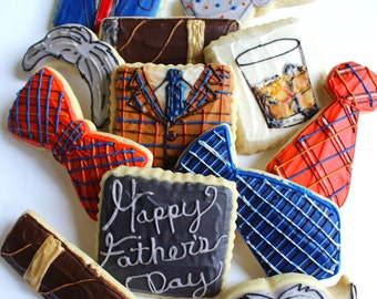 Distinguished Gentleman / Suit and Tie/ Mustache / Father's Day Sugar Cookies with Buttercream Frosting
