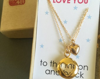 Mother necklace, Mother daughter jewelry, Mother daughter necklace, Puffy Cut out Heart charm Necklace, Mother and child, mother's day gift