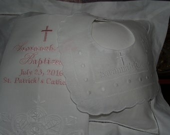 Baptismal Towel and Linen Swiss Dot Bib For Baby Girl or Boy