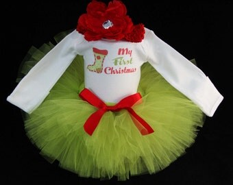 Baby's First Christmas Outfit - Personalize 1st Christmas - My First Christmas Tutu  - My First Christmas - CT1513
