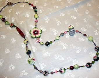 "Long  beaded  necklace ""Le Jardin"", MADE TO ORDER"