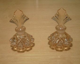 Free shipping! 2 Pink glass perfume bottles