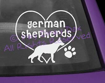 German Shepherd in Heart Decal