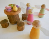 Fairy toy set wood fairy peg dolls woodland fairies party set with log table and tree stump chairs waldorf forest  iridescent wings