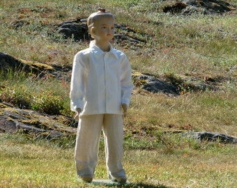 Boys beach wedding suit. Ring bearer outfit. Wedding party outfit.Boys linen shirt and pants.Boys formal wear.Rustic wedding suit.