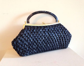 Vintage Mid Century Blue Straw Purse with Bakelite Handle very Joan from Mad Men
