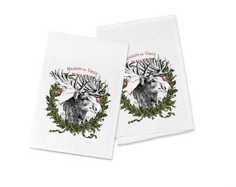 100% Egyptian Cotton Flour Sack Kitchen Dish Towel Moose Wreath (one towel)