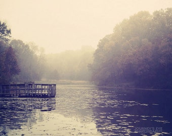 Autumn at the Lake - landscape photography, fall decor, moody, dreamy art, neutral color, nature photograph