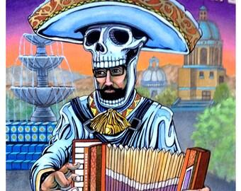 Mexoskeleton Accordion Player, 8x10 Print, Mariachi Accordion, Day of the Dead Mariachi, Accordion Musician, Mexican Musician Art