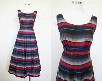 1950's Vintage Striped A-Line 4th of July Rockabilly Viva Las Vegas Day Dress - Size Medium