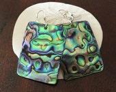 Rectangle Paua Abalone Shell Earrings