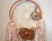 Leather Rose Opal Tree of Life Dream Catcher, dreamcatcher is custom made with handspun yarns,opals,copper,leather rose is handmade,peach