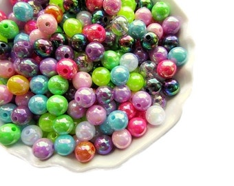 50 Mixed Colors Acrylic Beads 8 mm Colorful Round Beads Shiny Beads Craft Supplies Jewelry Supply