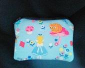 Handmade Alice in Wonderland Coin Purse,  Fabric Zipper Bag
